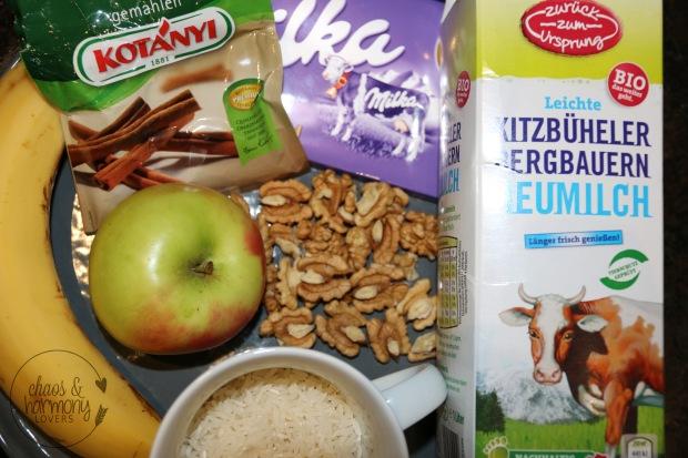 Zutaten für den Schoko-Milchreis
