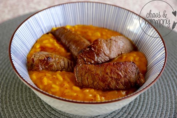 Kürbisrisotto mit Steak-Str